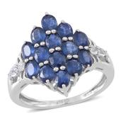 Kanchanaburi Blue Sapphire, White Topaz Sterling Silver Ring (Size 9.0) TGW 2.820 cts.