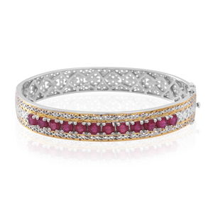 Niassa Ruby 14K YG Over and Sterling Silver Openwork Bangle (7.25 in) TGW 7.20 cts.