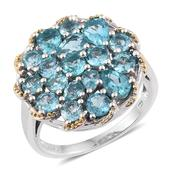 Madagascar Paraiba Apatite 14K YG and Platinum Over Sterling Silver Cluster Ring (Size 7.0) TGW 4.65 cts.