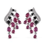 Niassa Ruby, Thai Black Spinel, White Topaz Platinum Over Sterling Silver Dangle Earrings TGW 6.62 cts.