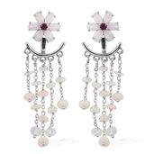 Australian White Opal, Ethiopian Welo Opal, Ruby Platinum Over Sterling Silver Floral Ear Jacket Earrings TGW 7.41 cts.