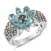 Madagascar Paraiba Apatite, Indian Ocean Apatite Platinum Over Sterling Silver Ring (Size 8.0) TGW 3.550 cts.
