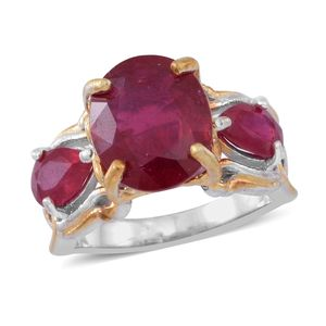Niassa Ruby 14K YG Over and Sterling Silver Ring (Size 9.0) TGW 10.84 cts.
