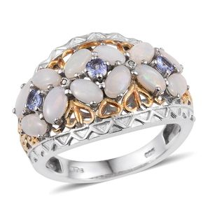 Australian White Opal, Tanzanite, Diamond Accent 14K YG and Platinum Over Sterling Silver Openwork Ring (Size 9.0) TDiaWt 0.01 cts, TGW 1.720 cts.