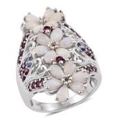 Australian White Opal, Tanzanite, Orissa Rhodolite Garnet Platinum Over Sterling Silver Elongated Openwork Floral Ring (Size 7.0) TGW 3.08 cts.