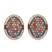 Multi Sapphire 14K YG Over and Sterling Silver Omega Clip Cluster Earrings TGW 6.860 Cts.