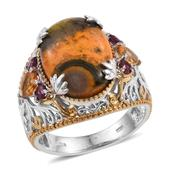 Bumble Bee Jasper, Brazilian Citrine, Orissa Rhodolite Garnet 14K YG and Platinum Over Sterling Silver Ring (Size 6.0) TGW 11.350 cts.