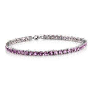 Lab Created Madagascar Pink Sapphire Platinum Over Sterling Silver Tennis Bracelet (8.00 In) TGW 10.570 cts.
