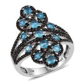 Customer Day Malgache Neon Apatite, Thai Black Spinel Platinum Over Sterling Silver Ring (Size 7.0) TGW 2.12 cts.