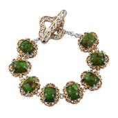 KARIS Collection - Mojave Green Turquoise ION Plated 18K YG and Platinum Bond Brass Bracelet (6.50 In) TGW 6.74 cts.