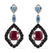 Niassa Ruby, Electric Blue Topaz, Thai Black Spinel Platinum Over Sterling Silver Dangle Earrings TGW 7.22 cts.