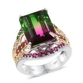 Watermelon Quartz, Multi Gemstone 14K YG and Platinum Over Sterling Silver Ring (Size 6.0) TGW 14.485 cts.