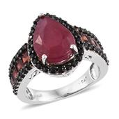 Niassa Ruby, Mozambique Garnet, Thai Black Spinel Platinum Over Sterling Silver Midnight Flame Ring (Size 8.0) 0 0 TGW 9.770 cts.