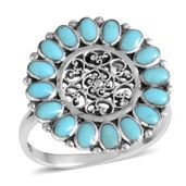 Santa Fe Style Turquoise Sterling Silver Ring (Size 9.0) TGW 2.10 cts.