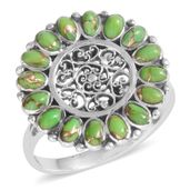Santa Fe Style Green Moldavite Sterling Silver Ring (Size 8.0) TGW 2.100 cts.