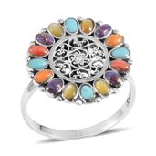 Santa Fe Style Mojave Purple Turquoise, Multi Gemstone Sterling Silver Ring (Size 6.0) TGW 0.50 cts.