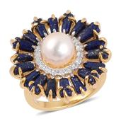 Pearl Expressions Japanese Akoya Pearl, Lapis Lazuli, White Topaz 14K YG Over Sterling Silver Ring (Size 7.0) TGW 4.70 cts.