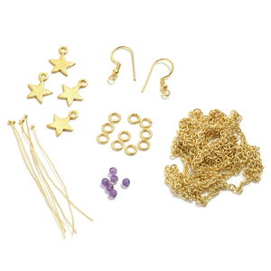Gem Workshop Kit Amethyst Star Chain Earrings Goldtone 1.80Carat Total Gem Stone Weight