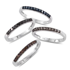 Multi Diamond (IR) Platinum Over Sterling Silver Set of 4 Stackable Rings (Size 6.0) TDiaWt 1.00 cts, TGW 1.000 cts.