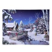 Christmas Winter Village Pattern Wall Art with 40 Fiber Optical LED Canvas (16x12 in)
