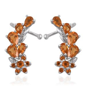 Salamanca Fire Opal Platinum Over Sterling Silver Ear Cuff Earrings TGW 2.35 cts.