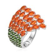 Salamanca Fire Opal, Russian Diopside Platinum Over Sterling Silver Ring (Size 7.0) TGW 4.55 cts.