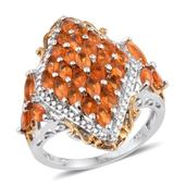 Salamanca Fire Opal 14K YG and Platinum Over Sterling Silver Openwork Ring (Size 5.0) TGW 2.150 cts.