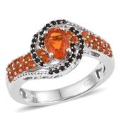 Salamanca Fire Opal, Thai Black Spinel Platinum Over Sterling Silver Ring (Size 7.0) TGW 1.20 cts.
