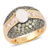 Australian White Opal, Hebei Peridot, White Topaz 14K YG Over Sterling Silver Ring (Size 10.0) TGW 3.29 cts.