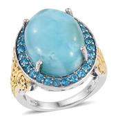 Larimar, Malgache Neon Apatite 14K YG and Platinum Over Sterling Silver Statement Ring (Size 7.0) TGW 20.150 cts.
