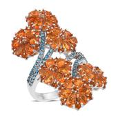 Salamanca Fire Opal, Malgache Neon Apatite Platinum Over Sterling Silver Flower Ring (Size 6.0) TGW 6.040 cts.