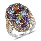 Multi Gemstone 14K YG and Platinum Over Sterling Silver Ring (Size 5.0) TGW 7.155 cts.
