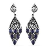 Artisan Crafted Rough Cut Tanzanite Sterling Silver Earrings TGW 5.170 Cts.