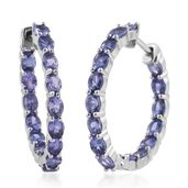 Premium AAA Tanzanite Platinum Over Sterling Silver Inside Out Huggie Hoop Earrings TGW 5.10 cts.