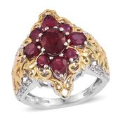 Niassa Ruby, White Topaz 14K YG and Platinum Over Sterling Silver Openwork Ring (Size 5.0) TGW 5.580 cts.