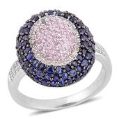 Kanchanaburi Blue and Pink Sapphire, White Topaz Black Rhodium Over and Sterling Silver Ring (Size 9.0) TGW 2.450 cts.