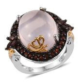 Galilea Rose Quartz, Mozambique Garnet 14K YG and Platinum Over Sterling Silver Statement Ring (Size 9.0) TGW 21.300 cts.