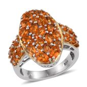 Salamanca Fire Opal 14K YG and Platinum Over Sterling Silver Ring (Size 5.0) TGW 2.600 cts.