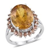 Golden Apatite, Jenipapo Andalusite Platinum Over Sterling Silver Ring (Size 7.0) TGW 10.75 cts.