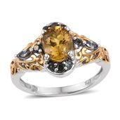 Golden Apatite, Bekily Color Change Garnet 14K YG and Platinum Over Sterling Silver Ring (Size 10.0) TGW 2.44 cts.