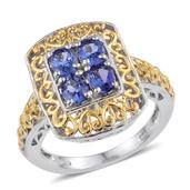 Premium AAA Tanzanite 14K YG and Platinum Over Sterling Silver Openwork Ring (Size 7.0) TGW 1.300 cts.