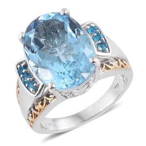 Swiss Blue Topaz, Malgache Neon Apatite 14K YG and Platinum Over Sterling Silver Statement Ring (Size 8.0) TGW 15.030 cts.