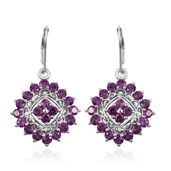 Purple Garnet Platinum Over Sterling Silver Lever Back Earrings TGW 5.43 cts.
