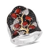 Jalisco Cherry Fire Opal, Thai Black Spinel, White Topaz 14K YG and Platinum Over Sterling Silver Ring (Size 5.0) TGW 3.840 cts.