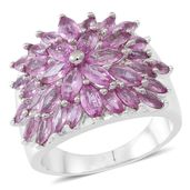 Madagascar Pink Sapphire Sterling Silver Ring (Size 6.0) TGW 3.52 cts.