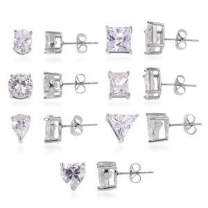 Doorbuster Set of 7 Simulated White Diamond Stainless Steel Stud Earrings TGW 13.00 cts.