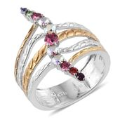 KARIS Collection - ION Plated 18K YG and Platinum Bond Brass Openwork Elongated Ring (Size 6.0) Made with SWAROVSKI Multi Color Crystal TGW 0.730 cts.