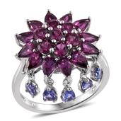 Purple Garnet, Tanzanite Platinum Over Sterling Silver Dangle Ring (Size 8.0) TGW 5.51 cts.