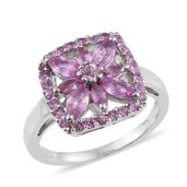 Madagascar Pink Sapphire Platinum Over Sterling Silver Ring (Size 8.0) TGW 2.23 cts.