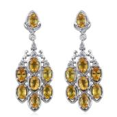 Yellow Sapphire, White Topaz Platinum Over Sterling Silver Dangle Earrings TGW 5.600 Cts.